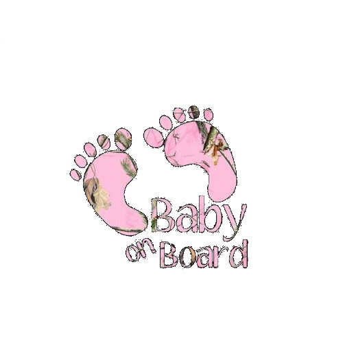 Baby On Board Feet Pink Camo Decal