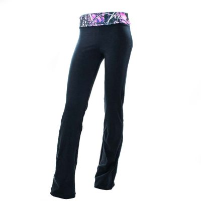 Black Yoga Pants with Camo Waist Band