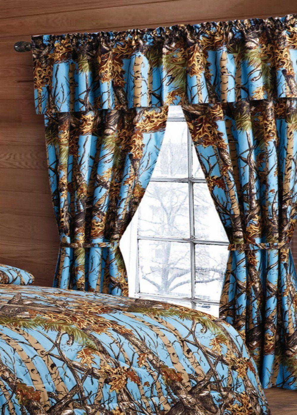 Powder Blue Camo Curtains