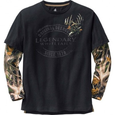 Legendary Whitetails Men's Wild Camo Buck Black Long Sleeve T-Shirt